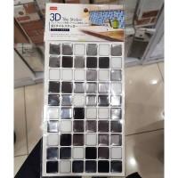 [다이소]3D 타일 스티커 블랙화이트