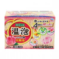 EARTH 온포 입욕제 탄산탕 복숭아 향기 4종 x 5개