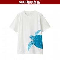 일본 무인양품 인도면 천축 니트 프린트 T 셔츠