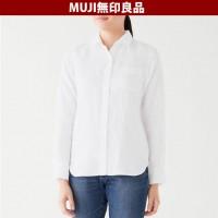 일본 무인양품 유기농 리넨 바랜 여성 셔츠 흰색